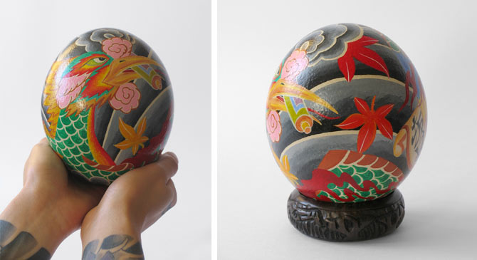 The Fabergé African Ostrich Eggs hand painted by Daisuke Sakaguchi